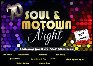 70's SOUL & MOWTOWN NIGHT. FT DJ PAUL LITTLEWOOD